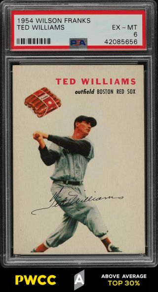 1954 Wilson Franks Ted Williams Psa 6 Exmt (pwcc - A)