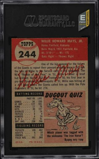 1953 Topps Willie Mays SHORT PRINT 244 SGC 8 NM - MT (PWCC - E) 2