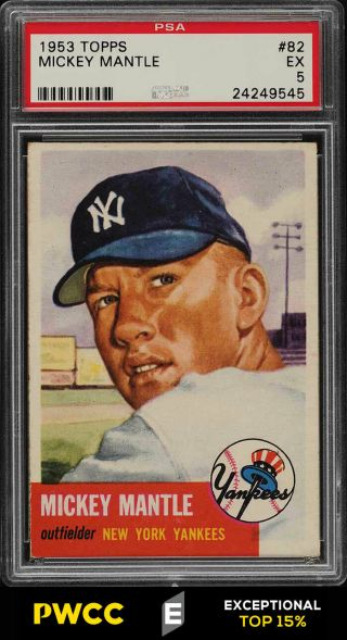 1953 Topps Mickey Mantle Short Print 82 Psa 5 Ex (pwcc - E)
