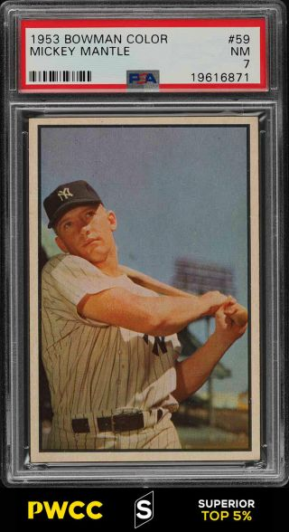 1953 Bowman Color Mickey Mantle 59 Psa 7 Nrmt (pwcc - S)