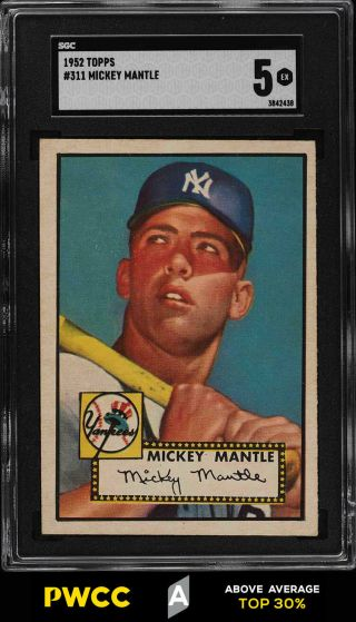 1952 Topps Mickey Mantle 311 Sgc 5 Ex (pwcc - A)