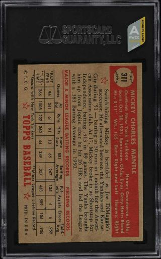 1952 Topps Mickey Mantle 311 SGC 5 EX (PWCC - A) 2