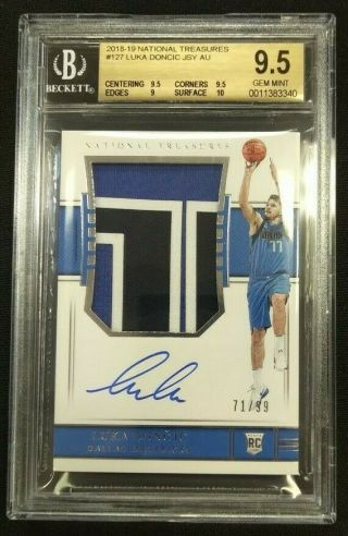 2018 - 19 National Treasures Rookie Patch Auto Luka Doncic 71/99 Bgs 9.  5 Auto 10
