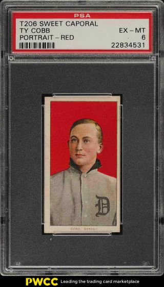 1909 - 11 T206 Ty Cobb Red Portrait Psa 6 Exmt (pwcc)