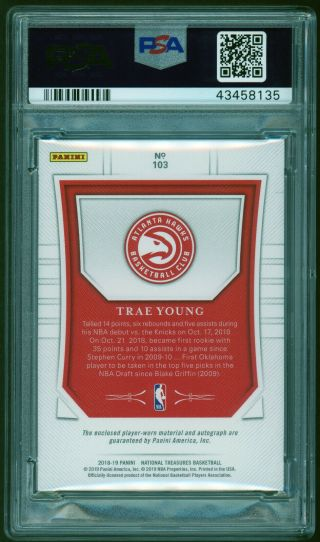 2018 - 19 National Treasures FOTL Trae Young /20 RPA RC 4 - Color Patch AUTO PSA 10 2