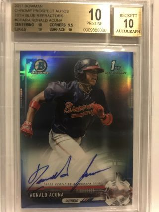 Ronald Acuna 2017 Bowman Chrome 70th Blue Refractor Rc Auto Rookie Bgs 10/10