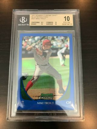 2011 Bowman Chrome Draft Mike Trout Blue Refractor 163/199 Bgs 10 - Pop 2
