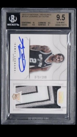 2012 - 13 National Treasures Kawhi Leonard Rc Spurs Rpa Rookie Auto /199 Bgs 9.  5