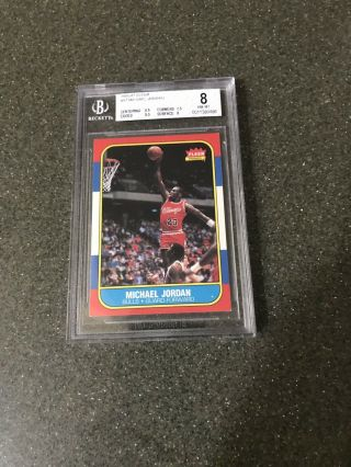 1986 Fleer Basketball 57 Michael Jordan Rc Rookie Hof Bgs 8 Nmmt