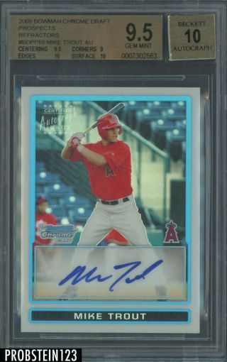2009 Bowman Chrome Refractor Mike Trout Angels Rc Auto /500 Bgs 9.  5 W/ (2) 10