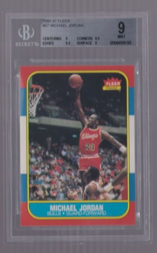 1986 - 87 Fleer Michael Jordan 57 Rc Rookie Bgs 9 (. 5 From Gem) - Bulls Hof