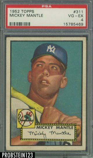 "1952 Topps 311 Mickey Mantle Yankees Rc Hof Psa 4 High "" Fantastic Centering """