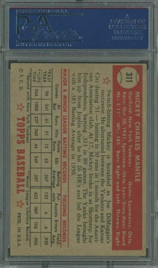 1952 Topps 311 Mickey Mantle Yankees RC HOF PSA 4 HIGH