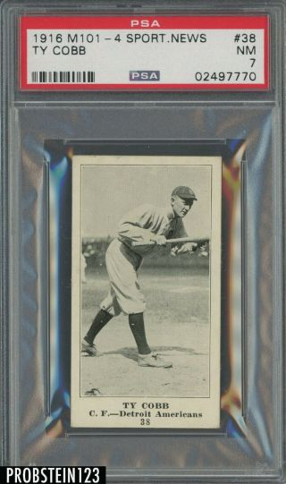 1916 M101 - 4 Sporting News 38 Ty Cobb Detroit Tigers Psa 7 Only 2 Higher