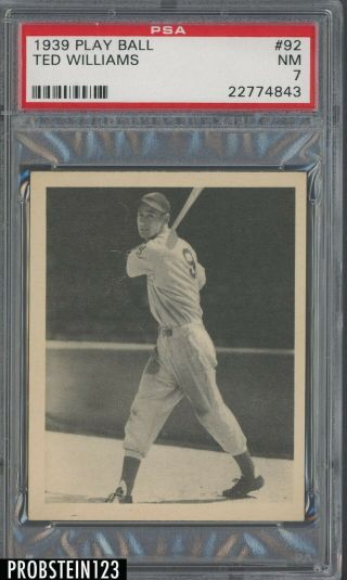 """1939 Play Ball 92 Ted Williams Red Sox Rc Rookie Hof Psa 7 """" High End """""""