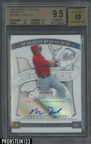 2009 Bowman Chrome Mt Mike Trout Angels Rc Rookie Auto Bgs 9.  5 True Gem