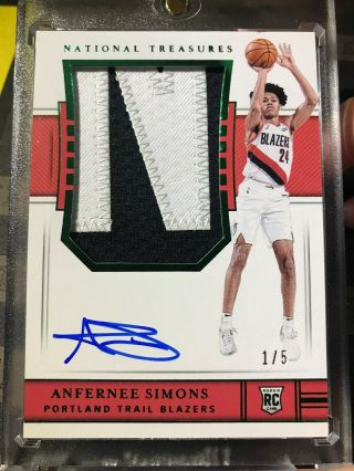 Anfernee Simons 2018 - 19 National Treasures Rookie Patch Auto Rc Emerald Green /5