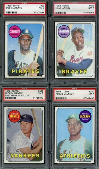 1969 Topps Baseball Complete Set All Psa Graded Mostly 7 Nm & 8 Nm - Mt