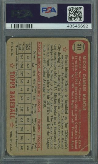 1952 Topps 311 Mickey Mantle Yankees RC Rookie PSA 1 HIGH