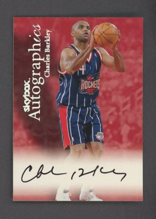 1999 - 00 Skybox Autographics Charles Barkley Rockets Hof Sp Auto W/ Stamp