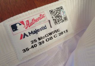 Mark Mcgwire 10/15/2015 Game Home White Pants Size 35 - 40 - 39 Obc Dodgers 25