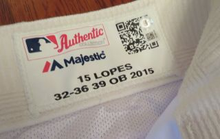 Davey Lopes 10/15/2015 Game Home White Pants / Size 32 - 36 - 39 Ob Dodgers 15