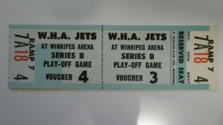 Wha Ticket Voucher Jets Vs Oilers May 20,  1979 Last Wha Game