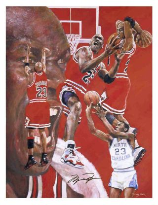2 Autographed Michael Jordan Lithographs - Signed In Black - Chicago Bulls
