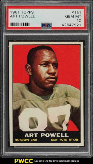 1961 Topps Football Art Powell Rookie Rc 151 Psa 10 Gem (pwcc)