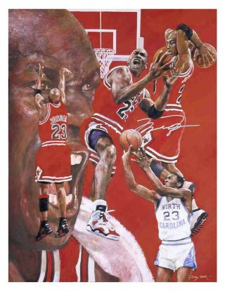 Autographed Michael Jordan Lithograph - Signed In Silver - Chicago Bulls