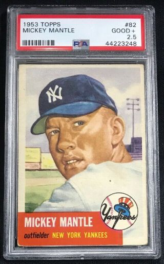 1953 Topps 82 Mickey Mantle Yankees Psa 2.  5 Good,