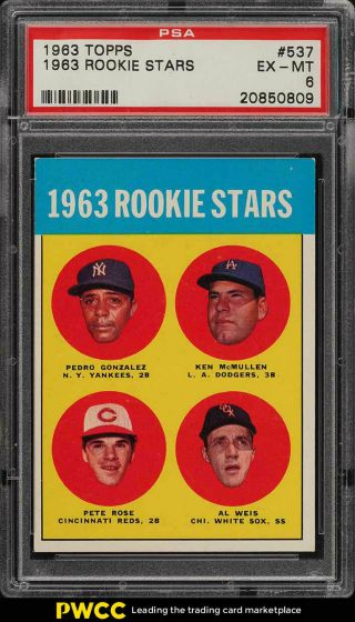 1963 Topps Pete Rose Rookie Rc 537 Psa 6 Exmt (pwcc)