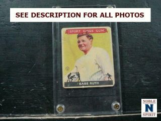 Noblespirit 1933 Goudey Sport Kings Gum Babe Ruth Card