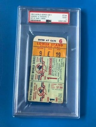 1953 World Series Ticket Stub Game 1 Psa Graded 2 Yankees Beat Dodgers In 6 Gms