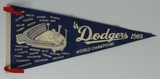 1963 Los Angeles Dodgers World Champion Pennant