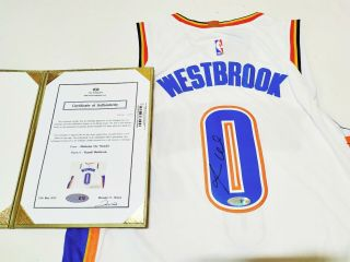No.  0 Russell Westbrook Autographed Nba Oklahoma City Thunder Jersey,