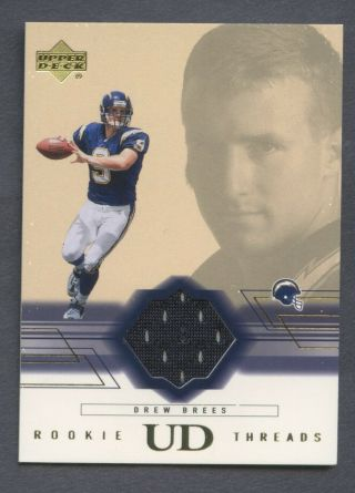 2001 Upper Deck Threads Drew Brees Chargers Rc Rookie Jersey