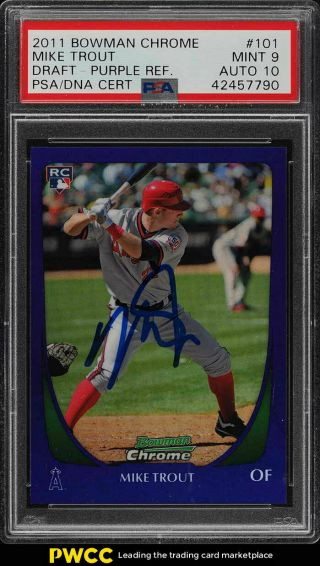 2011 Bowman Chrome Purple Refractor Mike Trout Rookie Rc Auto 101 Psa 9 (pwcc)