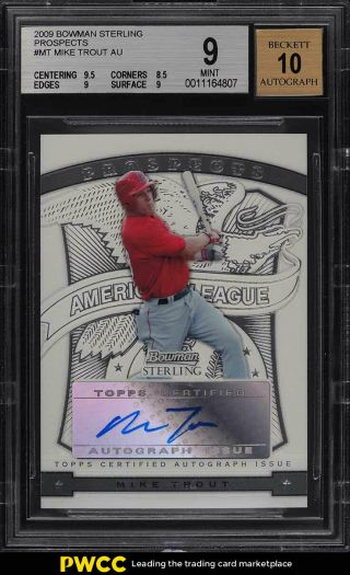 2009 Bowman Sterling Prospects Mike Trout Rookie Rc Auto Bsp - Mt Bgs 9 Mt (pwcc)