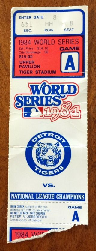 1984 World Series Game 3 Ticket At Tiger Stadium Vs Padres