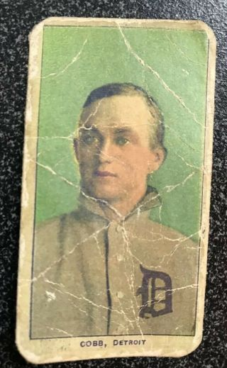 1909 - 11 T206 Ty Cobb Card,  Portrait,  Green Background,  Ty Cobb Back,  Ungraded