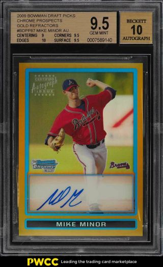 2009 Bowman Chrome Gold Refractor Mike Minor Rookie Rc Auto /50 Bgs 9.  5 (pwcc)