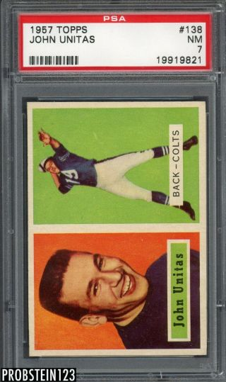 "1957 Topps Football 138 Johnny Unitas Colts Rc Rookie Hof Psa 7 "" Looks Nicer """