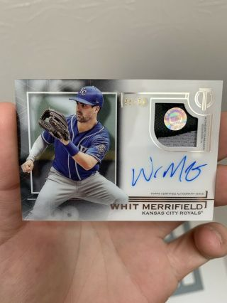 Whit Merrifield 2019 Topps Tribute Game - 3 Color Patch Auto 46/50 Pristine.