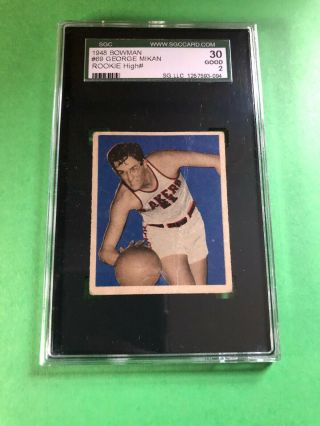 1948 Bowman 69 George Mikan Rookie Rc Centered Sgc 30 Good Gd 2