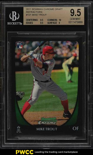 2011 Bowman Chrome Draft Refractor Mike Trout Rookie Rc 101 Bgs 9.  5 Gem (pwcc)