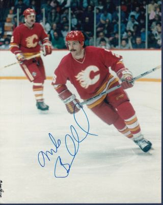 Mike Bullard Signed Vintage Calgary Flames Color 8 X 10 Hockey Photo