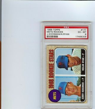 1968 Topps Nolan Ryan Rookie Rc 177 Psa 6 Nm - Mt Eye Appeal Make Offer