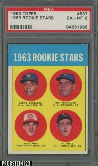 1963 Topps 537 Pete Rose Reds Rc Rookie Psa 6 Ex - Mt