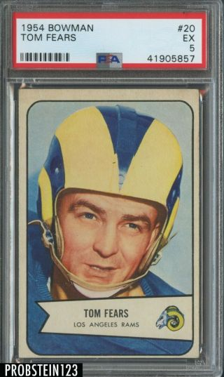 1954 Bowman Football 20 Tom Fears Los Angeles Rams Hof Psa 5 Ex